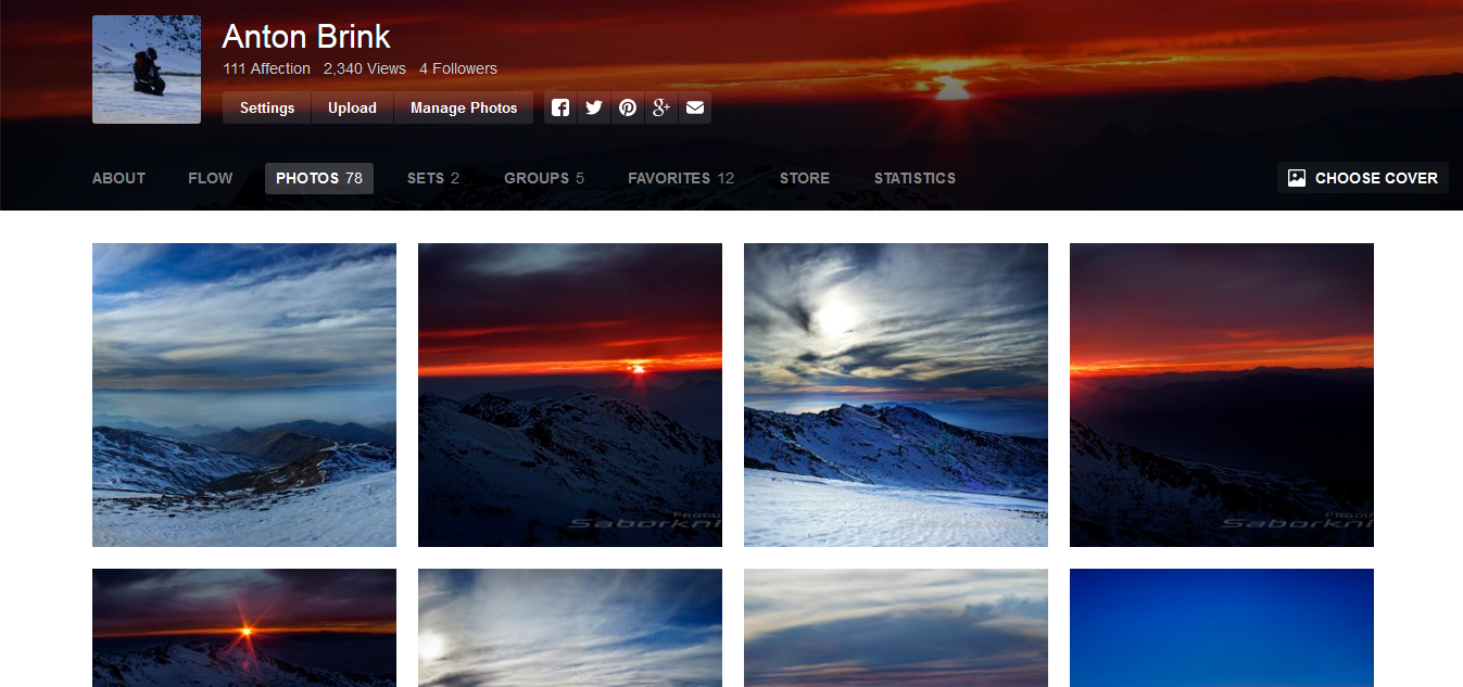 Screenshot of Anton Brink's Photo Collection